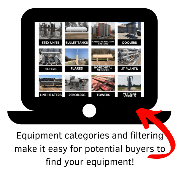 equipment categories and filtering on Surplus Energy Equipment Website