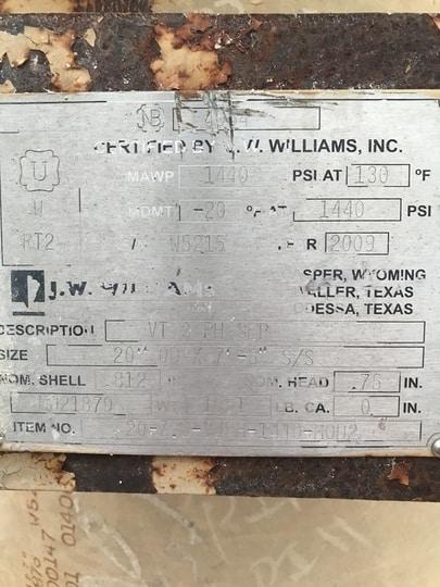 Separator 20″ X 7′ Vertical 3  Phase 1440 (Copy) VSEP-002-1